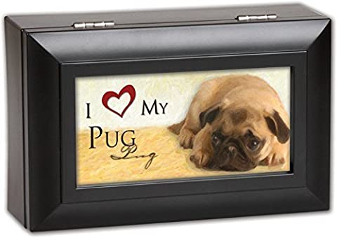 I Love My Pug Dog Pet Cottage Garden Black Petite Jewelry Music Musical Box Plays Song Wonderful World by Cottage Garden