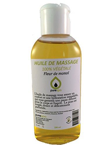Huile de massage 100% végétale parfumée à la FLEUR DE MONOÏ -100ml- Offre découverte
