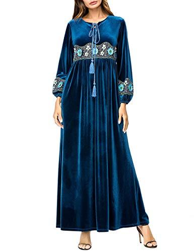 TAAMBAB Vestido Musulmán de Manga Larga con Bordado para Mujer - Cómodo Terciopelo Maxi Vestido Arabia Saudita Kaftan Abaya Largo Robe Ropa