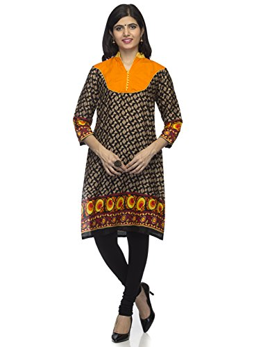 Indietoga women Printed Black designer Orange Yoke Mandarin Collar Long Casual Cotton Casual party wear Kurtis for Girls