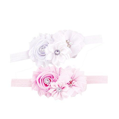 Preisvergleich Produktbild JMITHA 2 Stück Baby Stirnbänder Baby Mädchen Stretch Nett Kaninchenohren Gedruckt Turban Stirnband Kopf Verpackung Haarband