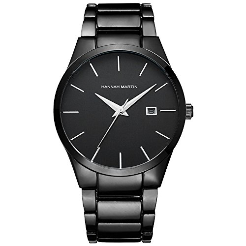 L'ananas-Uhren Herren Uhren,L'ananas Kalender Wasserdicht Anolog Geschäft Quarz Stahlband High-End Armbanduhren mit Geschenkbox Wristwatches (Schwarz)