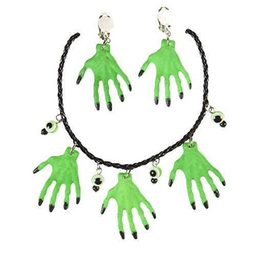 Amakando Halloween Halsschmuck Hexen Halskette und Ohrringe grün Voodoo Hexenschmuck Hexenkette Hexenanhänger Kostüm Schmuck Gothic Collier Anhänger Hexe (Voodoo Kostüm Schmuck)