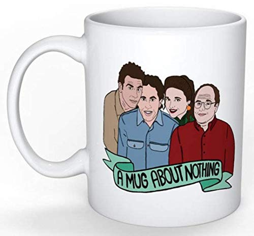Seinfeld Mug (Jerry Seinfeld, Elaine Benes, George Costanza, Cosmo Kramer, Larry David, Curb your Enthusiasm), 11oz Ceramic Coffee Novelty Mug/Cup, Gift-wrap Available (Seinfeld Jerry Halloween)