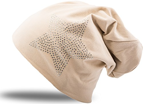 Sand Sterne (Jersey Baumwolle elastisches Long Slouch Beanie Unisex Herren Damen mit Strass Stern Steinen Mütze Heather in 35 verschiedenen Farben (2) (Heather Sand))