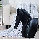 Miss Zhang's shop Super Weich Decken 200(Länge) X150(Breite) cm Super Weich - Nicht Deformiert - Warm Halten - Mehrzweckanwendung - Waschen Verblasst Nicht - Digitaldruck - 3D Schwarzes Pferd