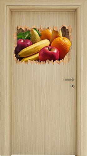 Obst Erdbeeren Kiwi Orangen Holzdurchbruch im 3D-Look , Wand- oder Türaufkleber Format: 62x42cm, Wandsticker, Wandtattoo, Wanddekoration Erdbeer-kiwi-saft