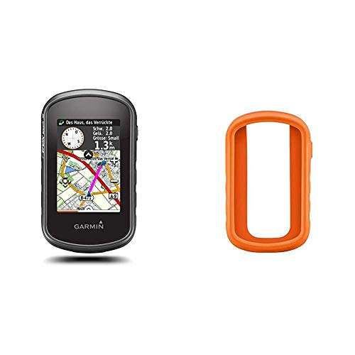 Garmin - eTrex Touch 35 - GPS de randonnée - Compas électronique 3 Axes et écran Tactile - Cartes TopoActive Europe de l'Ouest Préchargées - Noir + Bumper de Protection - Silicone - Orange