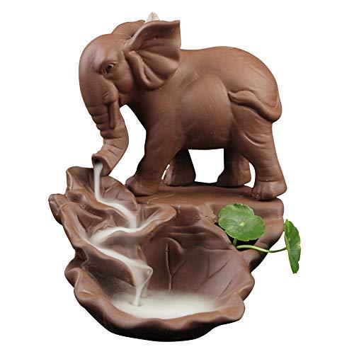 Räucherstäbchen Halter, Zuhause Keramik Räucherstäbchenhalter Rückfluss Räuchergefäß Elefant Buddha Luftbefeuchter Aromatherapie Räucherstäbchen Rückfluss Weihrauch Duftlampen Rauchbrunnen A -