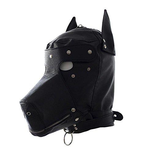 Kopf Maske Gepolstert Bondage Maske,Kunstleder Material,Hunde Kopf Bedeckung Sex Toys Fetisch SM Sex Spielzeug Orgasmus Gay Slave JMung , black