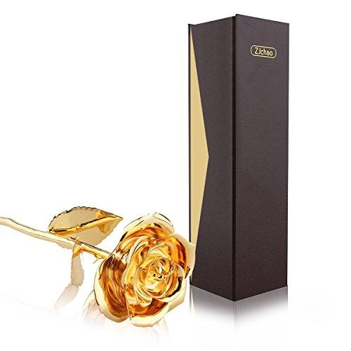 zjchao Luxuriöse 24K Goldfolie Echte Rose, Hochzeitsgeschenk (Gold) Vergoldete Rose