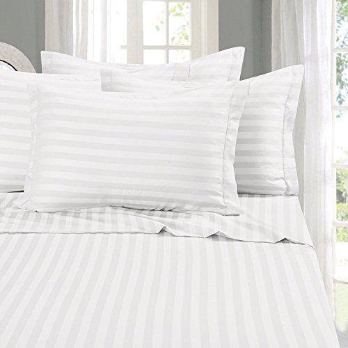 FAB Bettwäsche Hotelqualität 1800Serie gebürstet Mikrofaser Platinum Collection Bettwäsche-Set, solid 4Bettlaken Set, Mikrofaser, Stripe White, Twin XL