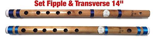 Profi-Set mit 2indischen Bambusflöten, Konzert-Skalen, 35,6cm, Blockflöten- und Querflöten-Set