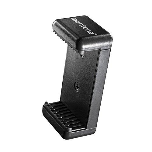 Mantona Smart Stand Halterung inkl. 2x 1/4 Gewinde Stativadapter für Smartphone bis 8,5cm Breite