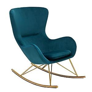 Riess Ambiente Design Schaukelstuhl Scandinavia Swing Grun Samt Gold Schaukelsessel Sessel Stuhl Relaxsessel