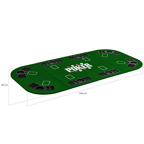 Maxstore Faltbare XXL Pokerauflage für bis zu 8 Spieler, Maße 160x80 cm, MDF Platte, 8 Getränkehalter, 8 Chiptrays, grün - 3