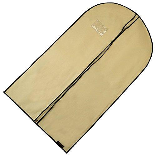 Hangerworld - 10 Custodie porta abiti traspirante beige crema con bordi neri - 104 cm