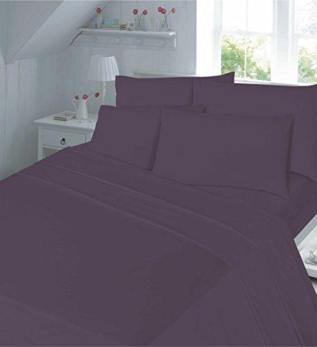 Night Zoon Luxuriöses Perkal Fadenzahl 180countt unifarben Bettbezug mit Kissen in Allen Größen, Polybaumwolle, Pflaume, King 230x220cm -