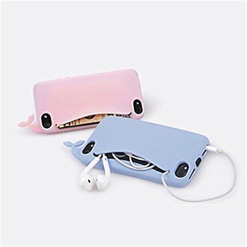 RedSuns Silicone bourse mignon baleine coque <iPhone 5C iPhone 6 Plus iPhone 6 iPhone 5/5S >       (iPhone 6/4.7,Noir) Rose