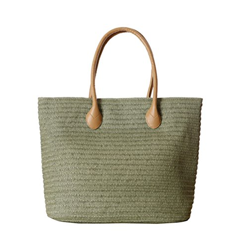 YoungSoul Damen Geflochtene Strohtasche Sommer Handtaschen Strandtasche Shopper Schultertasche mit Reißverschluss Armeegrün