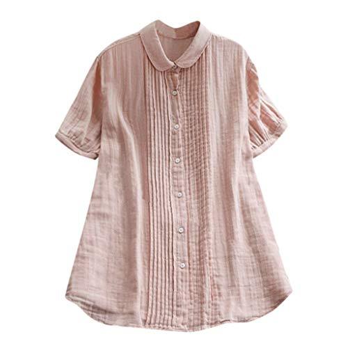 VJGOAL Bluse Kurzarm Damen Elegant Einfach Volltonfarbe V-Ausschnitt Große Größen Falten Kurze Ärmel Oberteil Shirt(Rosa,XL)