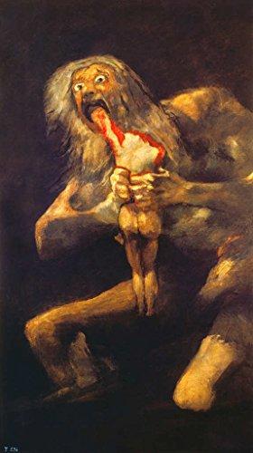 Kunstdruck/Poster: Francisco José de Goya Saturn verschlingt eines seiner Kinder. Schwarze Bilder der Quinta del Sord - hochwertiger Druck, Bild, Kunstposter, 40x70 cm (Leinwand Print Brillanter Giclée)