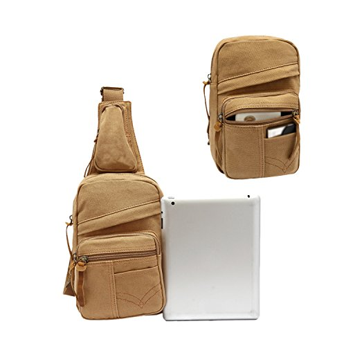 ESYN Borse a tracolla Sling tela di petto borsa vintage Satchel da uomo zaino (Army Green) Khaki