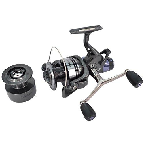 hirisi Tackle® Angelrolle zum Karpfenfischen Spinning gratis Tischläufer mit gratis Extra Spule...