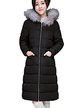 BOMOVO Abrigo de plumas de manga larga para mujer cuello Nagymaros En el abrigo largo