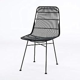 Chaise Elia Lot de 2 chaises en rotin Noir – Pieds en Metal – Ethnique – L 44 x P 40 cm
