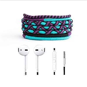 Crossloop Designer Series 3.5mm Universal in-Ear Headphones with Mic and Volume Control (Sky Blue, Purple & Black)
