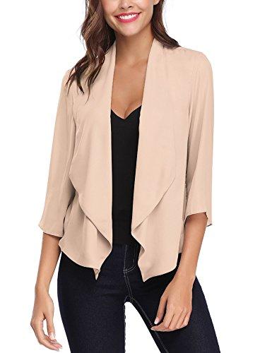 Abollria cardigan donna elegante a manica di 3/4 lunghezza golfino casual coprispalle per ufficio casa viaggio e giacca leggera per primavera estate autunno