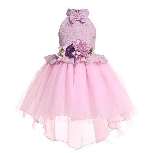 Pageantry Prinzessin Kleid Baby Mädchen Ärmellos Spitze Tutu Blütenblätter Taufkleid Festlich O-Ausschnitt Kleid Hochzeit Unregelmäßig Partykleider Süß Blumen Kleid -