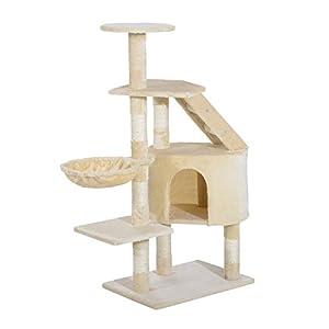 centro gatos: PawHut Rascador Árbol para Gatos Poste Centro 55x40x125cm Arañar Dormir Jugar Fe...