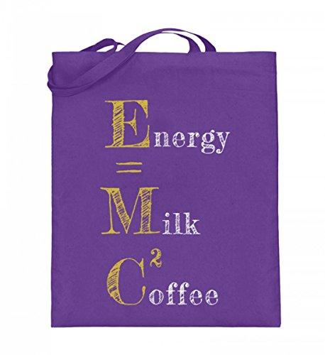 Borsa In Juta Di Alta Qualità (con Manici Lunghi) - Energia = Caffè Latte² Viola