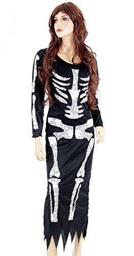 Foxxeo Langes schwarzes Skelett Kleid für Damen - Größe S-XXL - Kostüm Halloween Fasching Karneval Größe M
