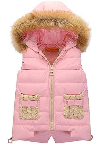 Veste Rembourrée Sans Manches à Capuche - Blouson Manteau Matelassé Fille Pink 120