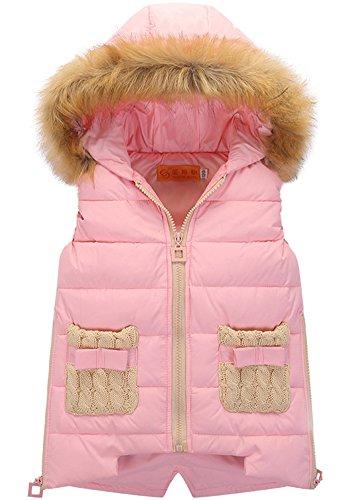 Veste Rembourrée Sans Manches à Capuche - Blouson Manteau Matelassé Fille Pink 150