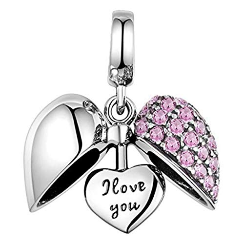LSDesigns Ich Liebe Dich – Silber-Herz-Kristallcharme – Sterling Silber 925 Damen Charm Armband Bead