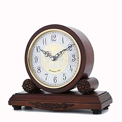 Kygz-zb tavolo orologio da camino, orologio in legno decorativo silenzioso, alimentato a batteria, design in legno scuro, adatto per soggiorno, ufficio, cucina, mensola e articoli per la casa