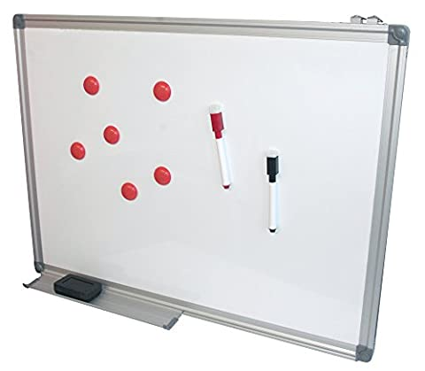 Product Nation 45 x 60cm Whiteboard Drywipe Magnetic with Pen Tray, Aluminium Trim and Accessory