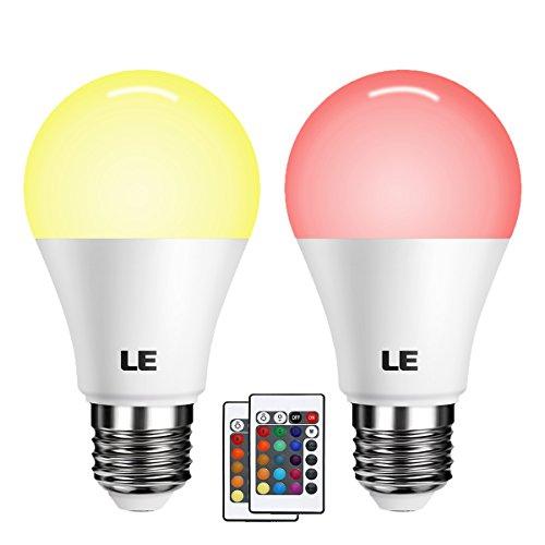 LE 2 * Ampoule LED RGB+W Réglable E27 6W avec 16 couleurs changeables, Ampoule Multicolore, Contrôlée via Télécommande Incluse, pour Café, Restaurant