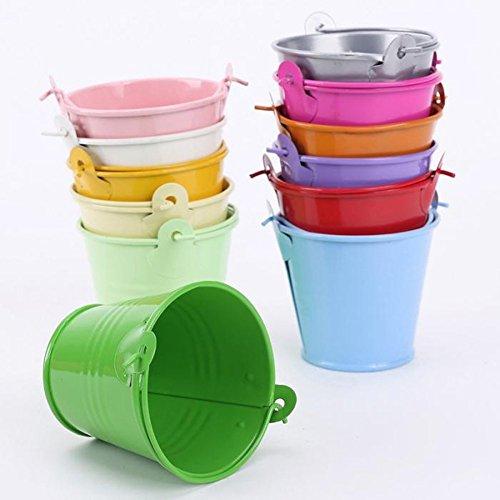 Valink  -12 bunte Mini-Eimer, Metalleimer, Süßigkeiten-Geschenk-Box Eimer, kleiner Schreibtisch-Eimer, Hochzeit, Party, Geschenk-Zubehör - 5,6 x 6,1 cm