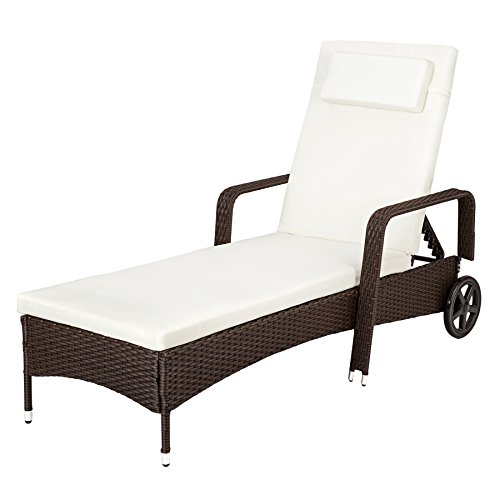 TecTake Tumbona chaise longue de poli ratán tumbona de jardín silla de terraza - disponible en diferentes colores - (Negro/Marrón)