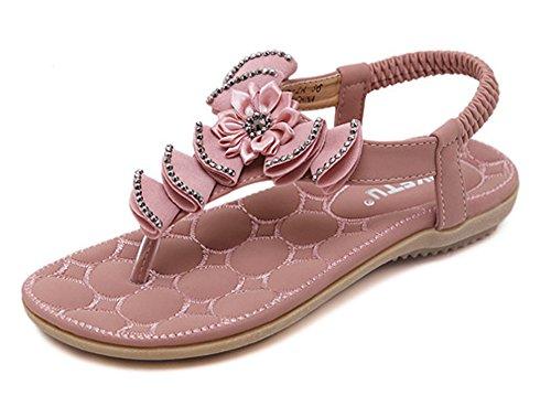 Minetom Femmes Filles Été Plage Chaussures Bohemian Fleur Strass T Strap Sandales Plat Peep Toe Flip Flops Rose