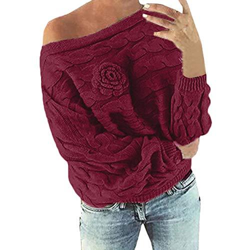 Solike Mode Tricot Pull Femme Automne Hiver Chaud Sweater à Col Bateau Tricot Rose sans Bretelle Manteau Vrac Lâche Casual Tops T-Shirt Blouse Outwea