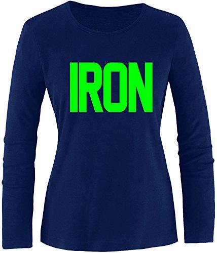 EZYshirt® Iron Damen Longsleeve Navy/Neongrün