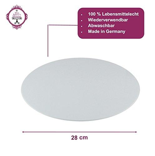 Tortenunterlage - weiß - Acryl - wiederverwendbar - rund - stabil - Kuchenplatte - Cake Board - Kuchenplatte (Ø 28 cm - rund)