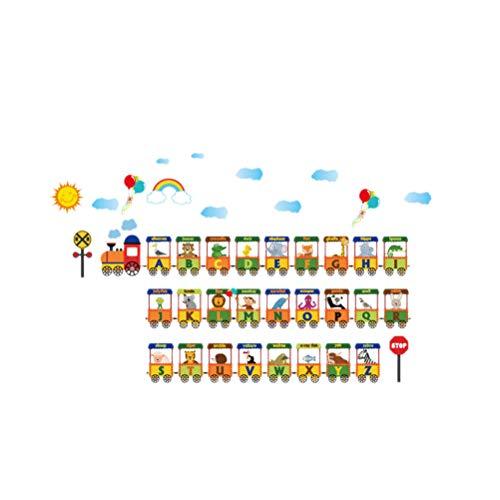 Vosarea Tieralphabet-Wandaufkleber Tierzug AZ Wandtattoo Peel and Stick abnehmbare Vinyls für Kleinkinder Badezimmer Schlafzimmer Fenster Baby Kindergarten Kinder Klassenzimmer