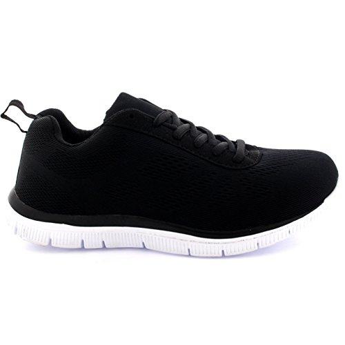 Femmes Get Fit Engrener Go Formateurs Athlétique Walk Gym Chaussures Sport Run Noir/Blanc